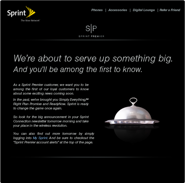 "Sprint to announce a ""wireless revolution"" tomorrow 