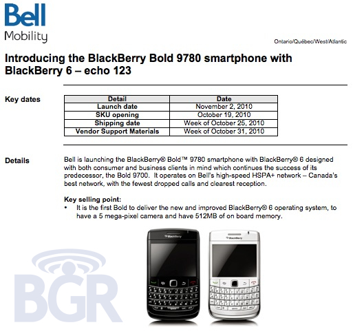BlackBerry Bold 9780 Coming to Bell Mobility November 2nd