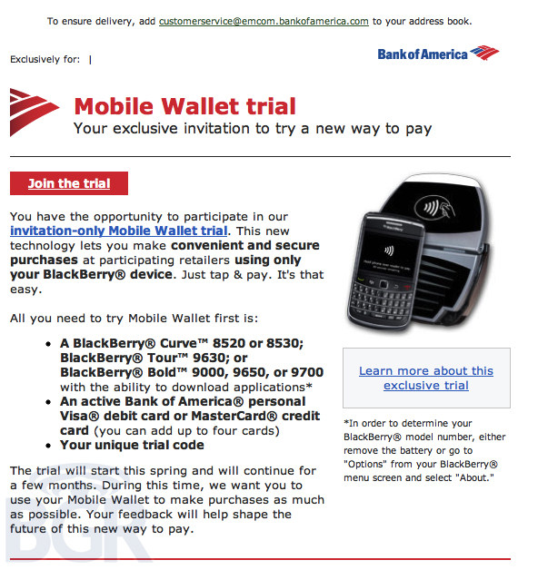 Bank of America BofA Mobile Payment Trial