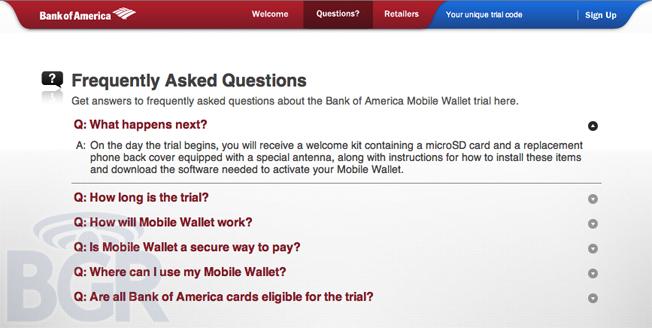 Bank of America (BofA) NFC Mobile Payment FAQ