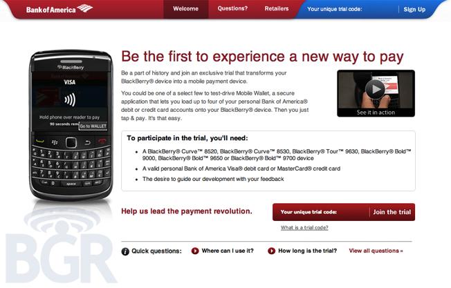 Bank of America (BofA) NFC Mobile Payment pilot