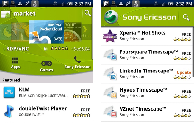 Sony Ericsson launches ANDROID MARKET channel
