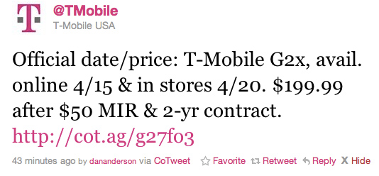 tmobile g2x phone. T-Mobile G2x landing April