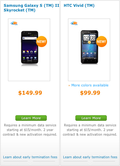 AT&T's Samsung Galaxy S II Skyrocket, HTC Vivid launch; each $100 cheaper than expected